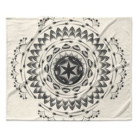 "Famenxt ""Boho Tribe Mandala"" Beige Black Fleece Throw Blanket"