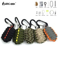 NEW EDC GEAR Carabiner Grenade 550 Paracord Outdoor camping Survival Kit Fishing Kit with Fire Starter and Sharp Eye Knife