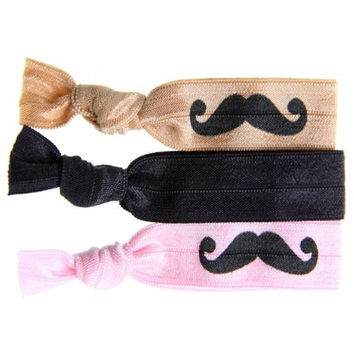 Printed Moustache 3-pack Hair Tie Set