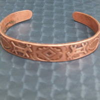 Vintage Copper Cuff Bracelet with Native American Animals and Designs Indian Southwestern Design Tribal Theme Jewelry, Free Shipping in USA