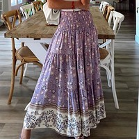2020 Summer New Women's Printing Skirts Elastic High Waist Long Skirt Floral Pleated A-line Boho Skirts Chic Mujer Maxi Skirts