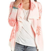 Neon Aztec Cascade Cardigan Sweater by Charlotte Russe - Ivory Combo