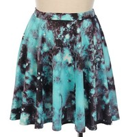 Galaxy Print Skater Skirt from Seek Vintage