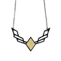Wings Acrylic & Brass Necklace - Large