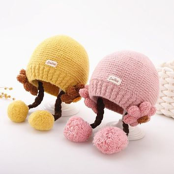 Girl Baby Hat Baby Autumn And Winter Ear Protection Wool Hat Princess Cute Super Cute Thick Winter Girl Braid Hat
