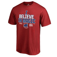 Men's Red Chicago Cubs I Believe In Magic T-Shirt