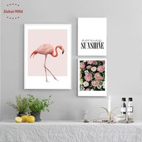 Pink Flamingo and Flower Wall Art Canvas