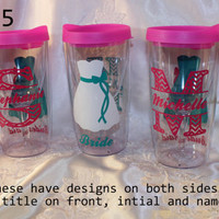 Set of 5 - Personalized WINE GLASS TUMBLERS, vino2go tumblers, for your wedding party, bridesmaid gift, bridal gift - decorated on 2 sides