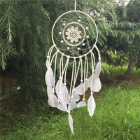 MyNeLo New Authentic native American dream catcher europe white leather dream catcher for room car decorate