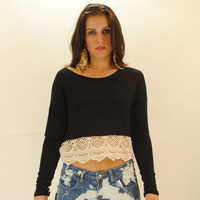 Crochet cropped long sleeves black top