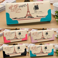 Women's  PU Leather Long Clutch Wallet Purse Eiffel Tower Cute Button Bag Card Handbag = 1932870404
