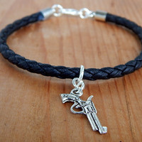 Men's Eco Leather, Men's Gun Bracelet, Men's Black Bracelet FREE SHIPPING