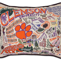 Clemson University Embroidered Pillow