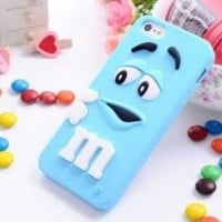 LliVEER Lovely Cartoon Mouth-open M & M's Chocolate Candies Style Fragrant Soft Silicone Case Cover Compatible for Iphone 5 5g 5s (light blue)