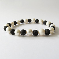 Lava and Freshwater Pearl's Stretch Bracelet - Rock and perls jewelry - Simple Handmade Jewelry