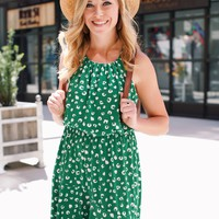 Going Dancing Cheetah Halter Dress, Green