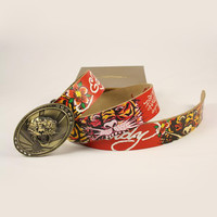 ED HARDY Men Woman Fashion Smooth Buckle Belt Leather Belt