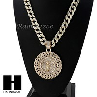 "Men's Large Medallion Round Angel Pendant w/ 30""Cuban Link Chain NN035G"