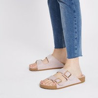 Nude embellished borg footbed sandals - Sandals - Shoes & Boots - women