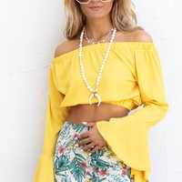 Mirror Image Yellow Bell Sleeve Top