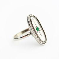 Art Deco Style Ring Silver Tone Metal with Faux Emerald