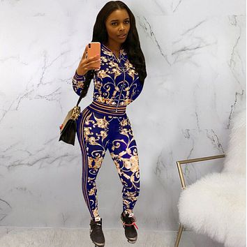 Fashion casual printed casual suit