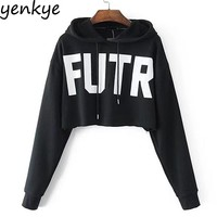 Autumn Women Letter Printed Cropped Hoodie Long Sleeve Hooded Pullover Sweatshirt Casual Plus Size sudadera mujer NMTZ0759