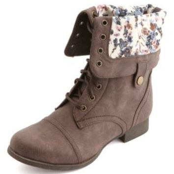 Floral-Lined Fold-Over Combat Boots by Charlotte Russe - Brown