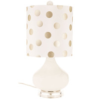White Glass Lamp with Gold & White Polka Dot Shade | Hobby Lobby