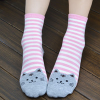 Stylish Animals Striped Cartoon Socks Cat Cotton Socks