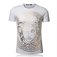 Versace New fashion people print couple top t-shirt White