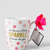 Gold and Pink Glitter She Leaves Sparkle Mug