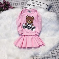 Moschino Toddler Little Girls Clothing Set Cute Long Sleeve T-Shirt and Skirt - Best Deal Online