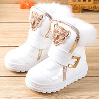 Fashion Children Boots Rabbit Fur Girls Snow Boots Waterproof PU Plush Booties Female Child Winter Warm Shoes(Little/Big Kid)