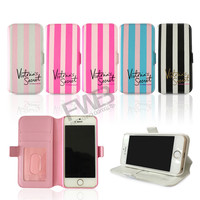 """In Stock! 2015 Victoria/'s Secret PINK Stripe PU Leather Flip Stand Wallet Case for iPhone 6 4.7"""" /6 Plus 5.5/ 5 5G 5S/4 4G 4S"""