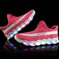 LED Girls Running Shoes Mesh Breathable Yee Shoes Girl Flywire Sports Shoes Kid Sneakers Luminous Shoes Children Sneakers 350