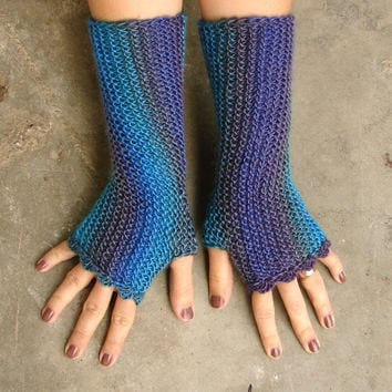 Turquoise and purple striped fingerless mittens in soft acrylic, texting gloves, seamless handknit soft armwarmers, choose your color