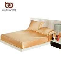 Arrivals Gold Fitted Sheet Luxury Jacquard Silk Bed Linen Nice Gifts Home Textile For Bedroom