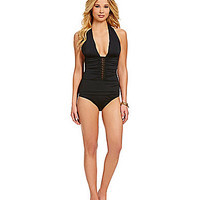 Cremieux Lace Inset One-Piece - Black