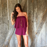 Playbook Perfection Romper-Burgundy