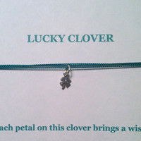St. Patrick's Day, Four Leaf Clover, Wish Necklace, Good Luck Charm, Luck of the Irish