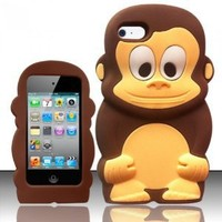 For iPod Touch 4 - Monkey Style 3D Silicon Case - Brown Monkey SCMK