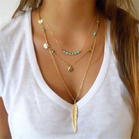 Turquoise bead necklace chocker coin feather necklace