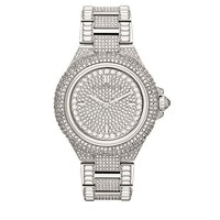 Trending Michael Kors Fashion Camille Silver Pave Dial Crystal Encrusted MK5869 Women's Watch G