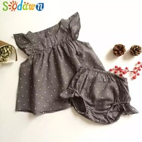 Summer Style DOT Baby Girl Clothes COTTON Clothing Set Baby Clothing