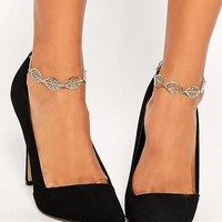 Stylish New Arrival Gift Ladies Sexy Jewelry Cute Shiny Metal Leaf Accessory Vintage Hollow Out Chain Anklet [6768756167]