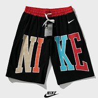 NIKE Summer New Fashion Letter Hook Print Shorts Black