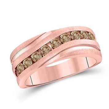 10k Rose Gold Round Diamond Wedding Single Row Grooved Band Ring 1 Cttw