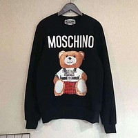 MOSCHINO Autumn Winter Trending Women Men Casual Stylish Print Long Sleeve Sweater Pullover Sweatshirt Black I/A
