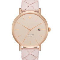 Kate Spade Grand Quilted Strap Metro Watch Pale Pink/Rose Gold ONE